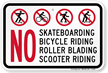Skateboarding Bicycle Roller Blading Sign