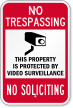 No Soliciting No Trespassing Surveillance Sign