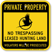 No Trespassing Leased Hunting Land Sign