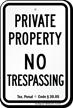 Texas No Trespassing Sign
