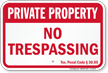Texas Private Property Sign