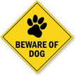 Beware Of Dog Warning Label With Dog Paw Graphic