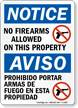 Notice No Firearms Allowed Sign Bilingual