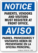 Bilingual Parents Vendors And Visitors Must Register Sign
