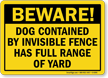 Dog Contained By Invisible Fence Beware Dog Sign