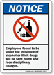 Employees No Alcohol Or Illicit Drugs Sign