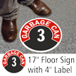 Garbage Can 3 Floor Sign & Label Kit