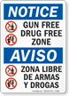 Gun Free Drug Free Zone Bilingual Sign
