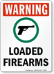 Loaded Firearms OSHA Warning Sign with Gun Symbol