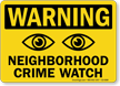 Warning Neighborhood Crime Watch Sign With Eyes Symbol
