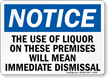 Use Of Liquor On These Premises Sign