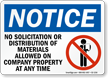 No Solicitation Or Distribution Allowed Notice Sign