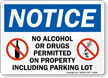 Notice No Alcohol Drugs Sign