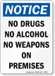 Notice No Drugs Alcohol Sign