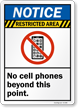 Restricted Area No Cell Phones Sign
