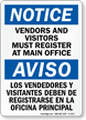 Notice Vendors Visitors Must Register Bilingual Sign
