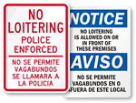 Bilingual No Loitering Signs