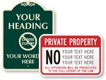 Custom Prohibition Signs