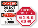 Do Not Climb Signs