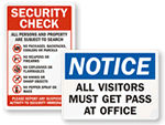 Security Entrance Signs