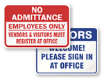 Front Office Visitor Signs