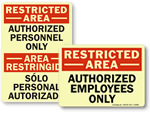 Photoluminescent Restricted Area Signs