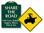 Golf Cart Crossing Signs