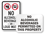 No Alcohol Allowed Signs