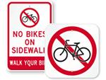 No Biking Signs