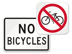 No Biking Allowed Signs