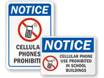 No Cell Phones at School Signs