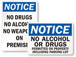 No Drugs or Alcohol Signs