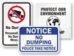 Big No Dumping Signs