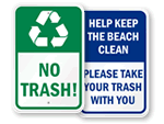 No Trash Signs & Labels
