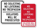 No Trespassing No Soliciting Signs