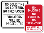 No Trespassing No Soliciting Signs