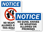 No Weapons & Guns Signs
