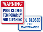 Pool Maintenance Signs