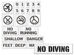 No Swimming Stencils