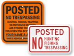 Posted No Hunting Signs