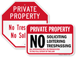 Private Property No Soliciting Signs