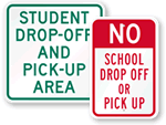 School Drop-Off & Pickup Signs