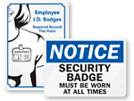 ID Badges Required Signs