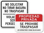 Spanish No Trespassing Signs