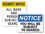 Subject to Search Signs