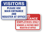Visitor Pass Required Signs