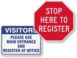 Vistors Must Register Signs