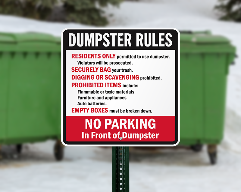 Find Best Buy Near Me >> Dumpster Signs - Dumpster Rules Signs at Best Prices