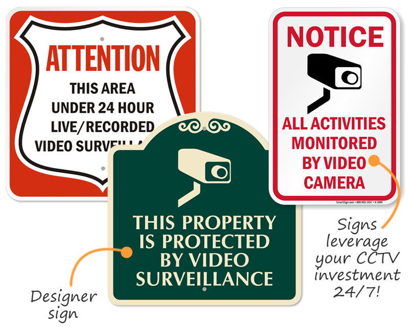 Video surveillance signs free shipping options video surveillance signs publicscrutiny Image collections
