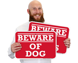 Red Beware of Dog Sign